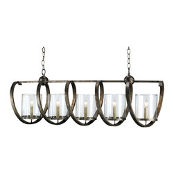 Kathy Kuo Home - Antique Bronze Curled Iron 5 Light Island Long Chandelier - Anyone who appreciates the art and craft of metal sculpture will find this rectangular industrial chandelier a must-have.  A looped ribbon of iron wraps itself around five bulbs, creating an airy industrial effect.