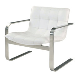 Nuevo Living - Cordoba Lounge Chair - Follow your modern muse and still feel relaxed and pampered? It's entirely possible when you choose this chair for your favorite setting. Here, sleek style and sumptuous comfort cohabit in harmony, via a brushed stainless steel frame, ample foam seat and tufted, top-grain Italian leather.