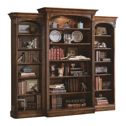 Hooker Furniture - Brookhaven Open Bookcase - White glove, in-home delivery included!  Open Bookcase only. (Shown in between Brookhaven Left and Right Bookcases.) Highly Distressed Medium Clear Cherry Finish.  One canister light, one adjustable wood-framed glass shelf, three adjustable shelves, one stationary shelf, levelers.  Stained top.