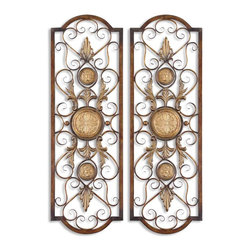 Uttermost - Micayla Antique Metal Panels, Set of 2 - No matter where you hang this set of hand-forged metal art, it will light up your wall. The distressed chestnut metal has burnished edges and antiqued gold details that shine like a beacon. The open metalwork allows the texture and color of your wall to come through adding depth and interest.