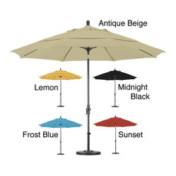 None - Premium 11-foot Fiberglass Collar Tilt Umbrella with Stand - This durable umbrella features an impressive 11-foot diameter and includes a 50-pound capacity stand. Avaiable in five colors, this umbrella is completed with an advanced collar tilt system.