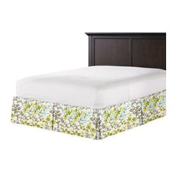 Aqua & Gray Watercolor Floral Custom Bed Skirt - With clean lines and crisp pleated sides and corners, our Tailored Bedskirt is the classic finishing touch for the sharp dressed bed.  We love it in this gray, aqua and spring green watercolor floral. Your room will be awash with color and class.