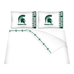 Sports Coverage - Sports Coverage NCAA Michigan State Spartans Microfiber Hem Sheet Set - Twin - NCAA Michigan State Spartans Microfiber Hem Sheet Set have an ultrafine peach weave that is softer and more comfortable than cotton. Its brushed silk-like embrace provides good insulation and warmth, yet is breathable.   The 100% polyester microfiber is wrinkle-resistant, washes beautifully, and dries quickly with never any shrinkage. The pillowcase has a white on white print beneath the officially licensed team name and logo printed in vibrant team colors, complimenting the new printed hems.    Features: -  Weight of fabric - 92GSM ,  - Soothing texture and 11 pocket,  -  100% Polyester,  - Machine wash in cold water with light colors,  - Use gentle cycle and no bleach ,  - Tumble-dry,  - Do not iron ,
