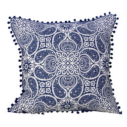 PillowFever - Blue and White Tibi Cotton Pillow Cover with Blue PomPom Trim. - Pillow insert is not included!