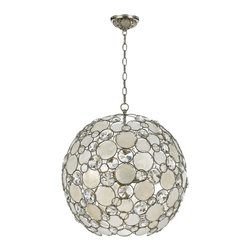 """Crystorama - Contemporary Crystorama Palla 21"""" Wide Antique Silver Pendant Light - The Crystorama Palla Collection is the perfect balance between vintage and modern. This sparkling pendant light features natural white capiz shells and hand-cut crystals affixed to the antique silver finish wrought iron frame. This fun and elegant lighting fixture will add a fascinating element to your decor. Wrought iron construction. Antique silver finish. Natural white capiz shell. Hand-cut crystals. Takes six 60 watt medium base bulbs (not included). 21"""" wide. 23"""" high.  Wrought iron construction.   Antique silver finish.   Natural white capiz shell.   Hand-cut crystals.   Takes six 60 watt medium base bulbs (not included).   21"""" wide.   23"""" high."""