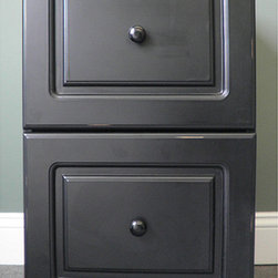 Black Wood Distressed Two-Drawer File Cabinet - Forget the ugly metal filing cabinets. This one will help your office look nicer while keeping your paper files in order.