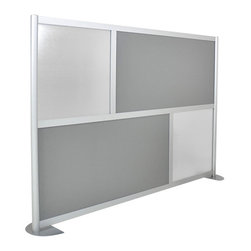 "LOFTwall - Loft Wall Low Height Room Partition LW61LH - The Loft wall Low Height Room Partition is 53"" tall and 76"" wide. Perfect for office privacy, this room divider is available in a variety of mix-and-match panel colors. Made from aluminum, with 12"" feet for stability."