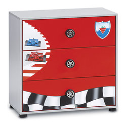 """Cilek - Racer Drawer - This drawer is part of the """"Need for Sleep"""" edition of Turbo Beds. Beautifully crafted by Cilek, this dresser has four useful drawers and is aesthetic thanks to its elegant wheel handles and car images. Chest available in matte red finish can be a great storage for children's themed bedroom."""