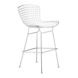 Wire Steel Wingtip Counter Height Chair with White Vinyl Cushion - Unique style with the Wire Steel Wingtip Counter Height Chair with White Vinyl Cushion. Steel wire frame molded and formed into a wire mesh design contoured for comfortable seating. Silver stainless steel finish. Includes a white vinyl seat cushion. Lightweight with a modern contemporary look. Chair dimensions: 21W x 23D x 41H inches. Counter seat height: 25 inches.