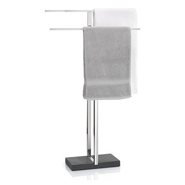Blomus - Menoto Towel Stand, Polished - An accoutrement of many European grand hotels, this freestanding towel rack presents your towel as you step out of the shower. This one is designed for discretion, to slide into smaller bathrooms without a fuss.