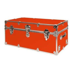 Rhino - Rhino Armor Storage Trunk in Orange (Small) - Choose Size: SmallTwo nickel plated steel universal wheel adapter plates mounted on the side of the trunk. Laminated armor exterior. Strong hand-crafted construction using both old world trunkmaking skills and advanced aviation rivet technology. Steel and aluminum aircraft rivets used to ensure durability. Heavy duty proprietary nickel plated steel hardware. Steel lid hinges and steel lid stay for keeping the lid propped open. Tight fitting steel tongue and groove lid to base closure to keep out moisture, dirt, insects and odors. Stylish lockable nickel plated steel trunk lock. Loop for attaching a padlock. Genuine leather handles. American craftsmanship. Self-sticking adhesive on the back of the name plate. Upper or lower case lettering. Lettering is in black. The name plate can take 24 characters per line. The max number of lines is 2. Warranty: Lifetime warranty includes free non-cosmetic repairs for the life of the trunk. Made from smooth 0.38 in. premium grade baltic birch hardwood plywood. No paper or plastic lining anywhere avoiding peeling or tearing. Name plate made from plastic. No assembly required. Cube: 20 in. W x 18 in. D x 18 in. H (22 lbs.). Small: 30 in. W x 16 in. D x 12.5 in. H (24 lbs.). Medium: 30 in. W x 16 in. D x 16 in. H (26 lbs.). Large: 32 in. W x 18 in. D x 14 in. H (27 lbs.). Extra Large: 34 in. W x 20 in. D x 15 in. H (32 lbs.). Extra Extra Large: 36 in. W x 18 in. D x 18 in. H (36 lbs.). Jumbo: 40 in. W x 22 in. D x 20 in. H (52 lbs.). Super Jumbo: 44 in. W x 24 in. D x 22 in. H (69 lbs.). Name Plate: 3 in. L x 1 in. H (0.5 lbs.)The hand-crafted American Made Rhino Armor Cube is constructed from the highest quality components. Rhino Armor is an exterior 1000d Cordura Nylon textured sheathing that's highly resistant to water penetration, denting and scratching. The Rhino Armor Cube is conveniently sized and ruggedly built. In fact, its strong enough to stand on ! The Rhino Armor Cube is easily stowed and can be securely locked to insure the safety of personal items. The Rhino Armor Cordura sheathing ensures that Rhino Armor Cubes have the most durable exterior available in the trunk industry. Rhinos brushed bright metal finish name plates are a great addition to any Rhino Trunk. Most people put their full name on, but its your choice. You can have your name on one or two lines. You can place the name plate anywhere you like on the Rhino Trunk.