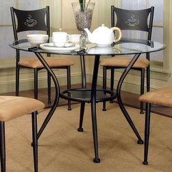 Cramco - Cramco Maxwell Round Glass Top Dining Table - Antique Bronze - CCO324 - Shop for Dining Tables from Hayneedle.com! Bring the cafe home with this Cramco Maxwell Round Glass Top Dining Table - Antique Bronze. A handsome table this one is well-built of tubular steel in a powder-coated antique bronze finish. It's crowned by a clear beveled glass round top and features a cut-out coffee mug on the shelf below. About CramcoBased in Philadelphia Pennsylvania Cramco provides an expansive selection of dining and dinette sets from traditional to contemporary. Quality materials including wood glass marble and laminate are used to create designs you'll love.