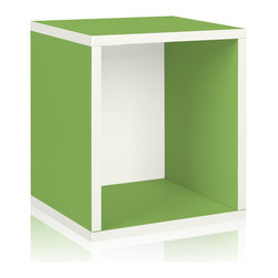 Way Basics - Way Basics Storage Cube Plus, Green - Why purge when you can neatly stack and store? Super cubes come to the rescue in a dorm room, studio apartment, home office or other space-challenged place. They're a breeze to build (just peel and stick!) and formaldehyde- and VOC-free.