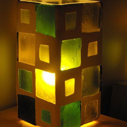 Recycled Bottle Glass Lamp, Green Squared by Bentbottle