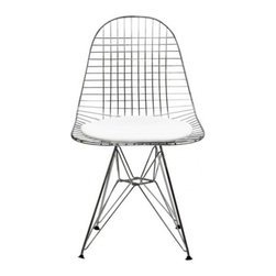 Poly + Bark - Eames Eiffel DKR Style Wire Chair, White - Charles E.'s unique Eiffel DKR Wire Chair is an expression of the designer's creative vision and innovative technical skills. Designed more than half a century ago, the chair comprises a light, yet strong structure, which features a sculptured look. The combination of the cross-woven wires and leather seating gives this quality replica its sophisticated appeal without detracting from its comfort. This fascinating seat was designed as a light dining chair at a reasonable price. The Eiffel DKR Wire Chair is not by Herman Miller Inc. Poly & Bark is in no way affiliated with Herman Miller Inc.