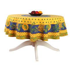 "Provence Imports - French Provencal Polyester Tablecloth - Tournesol Yellow - Round - This polyester tablecloth will add a French Provençal touch to your decor! This tablecloth features a beautiful ""placé"" design with sunflowers, wheat and olives on a yellow, blue and green background. ""Placé"" means the design is printed in a circle or rectangle and not in straight lines."