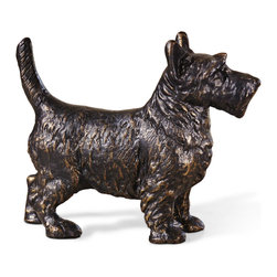 Kathy Kuo Home - Angus Hollywood Regency Bronze Scottie Sculpture - This beautiful Scottie dog is sculpted from iron and finished in a dark bronze patina.  Picture this polished pooch on an end table, mantle or even as a doorstop. This faithful friend makes a perfectly handsome addition to any dog lover's home.