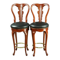 EuroLux Home - Consigned Pair Queen Anne New Bar Stools Swivel - Product Details