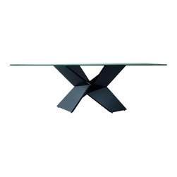 Rossetto - Rossetto Sapphire Glass Top Dining Table in Black - Rossetto - Dining Tables - R348201000028 - A structure with a variety of lines. An origami design in lacquered wood fitted with glass tops.