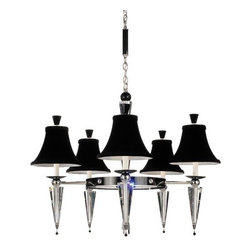 """Schonbek Lighting - Diva Chandelier by Schonbek Lighting - The dramatic Schonbek Lighting Diva Chandelier is designed to take center stage in modern interiors of any size. It features three, four or five velvet shades arranged around a central metal ring. Clear Optic Handcut crystal holders and Jet Black Swarovski ELEMENTS crystal accents contrast with the shades' soft shape and texture. Available with Black or White shades.Schonbek Lighting, established in 1870 in Bohemia, has been making traditional crystal chandeliers for more than 130 years. Today, as part of the Swarovski Group, U.S.-based Schonbek draws on its rich heritage to revitalize great chandelier styles from the past, creating dazzling crystal lighting for classic and contemporary spaces.The Schonbek Lighting Diva Chandelier is available with the following:Details:Black velvet shadesMetal frame with Optic Handcut and Swarovski ELEMENTS crystalSilver finishRound ceiling canopy40"""" suspension chain10' wireUL ListedOptions:Shade Color: Black, or White.Number of Lights: 3 Lights, 4 Lights, or 5 Lights.Schonbek Crystal Details:Schonbek has a knowledge of crystal dating all the way back to nineteenth century Bohemia. Such expertise continues to this day, with all Schonbek lighting fixtures trimmed in only the finest crystal, available in a variety of styles and colors. The type of crystal used in this fixture is:Optic Handcut: This hand-cut crystal is remarkably refractive, traditionally used for precise optical and scientific instrumentation.Swarovski ELEMENTS: Considered the finest crystal in the world, Swarovski ELEMENTS crystal is available in a myriad of colors, effects, shapes and sizes. With lead content in excess of 30 percent, ELEMENTS crystal is machine cut and polished to achieve perfect optical clarity, razor-sharp faceting and unique spectral brilliance, with an invisible coating making it easier to clean. The Swarovski logo is engraved into each ELEMENTS crystal to deter imitators.Lighting:3 Lig"""
