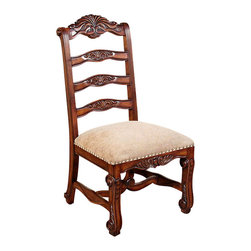 MBW Furniture - Mahogany Ladder Back Dining Side Chairs (2) - This product is finely constructed from top grade kiln-dried solid mahogany. Its superb quality will add a touch of elegance to your home.