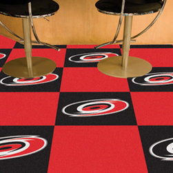 Fan Mats - NHL Carolina Hurricanes Team Carpet Tiles Square: 1 Ft. 5 In. x 1 Ft. 5 In. - - Officially licensed modular carpet flooring. Ideal for sports themed rooms or gyms. 20 tiles, 10 logo tiles and 10 solid tiles. Covers 45 sqft. Made in U.S.A. Man-made fiber carpet face and vinyl backing. Easy installation. No under padding required. Fan Mats - 10691