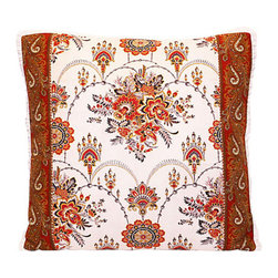 Vintage French Floral Fabric Pillow - A lovely piece of French floral fabric — genuine vintage, circa 1920 — becomes a custom-crafted pillow. With a paisley print border, cream-colored ruffle and overlocked seams, it's the perfect addition to your favorite setting.