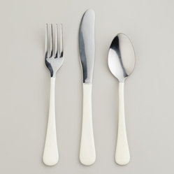 White Enamel Flatware - Simple and elegant, this flatware is a lovely and subtle way to update the table for springtime meals.