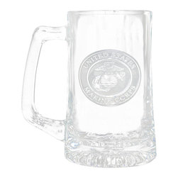 """Crystal Imagery, Inc. - Marine Corps Beer Mug, Military Barware Gifts - Engraved Marines military beer mug is perfect gift for retiring marine military or for an officer's promotion. Deeply carved using our sand carving technique, each of our custom beer mugs is meticulously custom made to order making it the perfect gift for those seeking unique gift ideas for beer lovers - men and women alike. At 5.75"""" high x 3"""" wide, our beer mugs and glasses hold 15 oz. A set of these etched, engraved beer mugs will be the favorite gift at any special gift giving occasion. Dishwasher safe. SOLD AS A SET OF 4."""