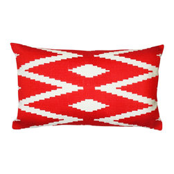 1414 Home - Modern Ethnic Embroidered Cotton Throw Accent Pillow Cover, Red, 14x24 - Embroidered design inspired by ethnic patterns.  100% cotton.  Embroidered.  Hidden zipper closure.  Down insert.