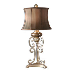 Uttermost - Marcella Antique Silver Table Lamp - The richness of antiquities is personified in this beautiful table lamp. A combination of silver leaf metal scrolled base and foot, a chocolate marble sphere topped by a silken chocolate shade, and a round silver finial bring texture and visual opulence to your space.