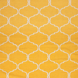 Jaipur Rugs - Flat Weave Geometric Pattern Gold /Yellow Wool Handmade Rug - MR65, 3.6x5.6 - An array of simple flat weave designs in 100% wool - from simple modern geometrics to stripes and Ikats. Colors look modern and fresh and very contemporary.