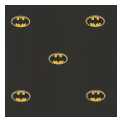 York Wallcoverings - Black Batman Logo DC Comics Accent Decor Wallpaper Roll - FEATURES: