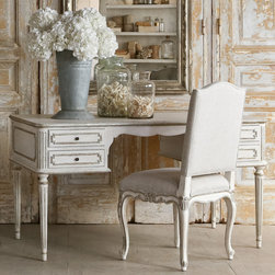 """Eloquence - Eloquence Coco Madame Silver Desk - The Eloquence collection of antique reproduction furnishings reflects the Old World glamour of classic European design. The Coco Madame desk accents its beautifully white finish with stunning silver trim and curved lines. A gorgeous addition for an office or bedroom, this functional piece offers four drawers with metal pulls for ample storage space. 59""""W x 31""""D x 31""""H."""
