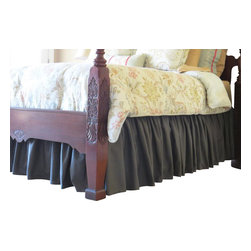 Allyson Brooke, Inc. - EasyOn™ Gathered Dust Ruffle, Queen, Charcoal Gray, 15 Inch Drop Length - Queen size EasyOn™ Gathered Dust Ruffle in Charcoal Gray with a 15 inch drop length.  Installs easily without removing your mattress.  And once in place, it stays put!  No more re-arranging your dust ruffle after a sheet change!   Everything you need to install, including detailed instructions are included, and we professionally package these to minimize wrinkling!  Made in the USA.