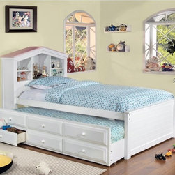 Furniture of America - Furniture of America Dollhouse Twin Storage Bed with Trundle and Drawers - IDF-7 - Shop for Beds from Hayneedle.com! The Furniture of America Dollhouse Twin Storage Bed with Trundle and Drawers sure packs a wallop. For one it's a bed for two it also has a trundle and for three it has drawers with ample storage space. To top it all off the headboard has a fun and functional dollhouse theme.About Furniture of America Based in California Furniture of America has established itself as a premier provider of fine home furnishings. The people behind Furniture of America brand are moved by passion hard work and persistence. They are always striving to design the latest piece keeping in mind their mission to make quality furniture available to urban-minded shoppers without compromising the packaging integrity.Furniture of America offers unique coordinated and affordably designed furniture; they are a one-step resource for high-quality furniture with secure and professional packaging in the furniture industry.