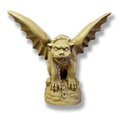 Tuscany Gargoyle Statue - The classically styled Tuscany Gargoyle Statue is an image right from a storybook. The realistic detail of the form and face gives this gargoyle a lifelike quality. With a wingspan of 19 inches, the large wings spread as the gargoyle prepares to take flight. The detail of the face and the chain collar add to the mystical presence of this gargoyle. This mystical medieval creation is finely crafted from lightweight fiberglass resin. At 18 inches high, the gargoyle will command a presence on your deck or in the garden.About Orlandi StatuaryBorn in 1911 when Egisto Orlandi traveled from Lucca, Italy to Chicago, Illinois, Orlandi Statuary quickly set the standard for excellence in their industry. Egisto took great pride in his craft and reputation and which is why artists, interior designers, and museums relied upon the careful details and impeccable quality he demanded. Over the years, they've evolved into a company supplying more than statuary. Orlandi's many collections today include fiber stone for the garden, religious statuary, fountains, columns, and pedestals. Their factory and showroom are still proudly located in Chicago where, after 100 years, they remain an industry icon.