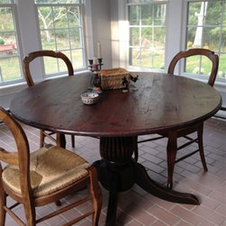 Round Dining Table In Client's Sun Room - Made by http://www.ecustomfinishes.com