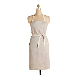 Birdkage - Saline Classic Bib Apron - Made from natural-colored cotton linen and adorned with a single front pocket, this classic bib apron is the picture of casual simplicity. That versatile contemporary style comes in handy when you want to let your guy take over in the kitchen: This apron was designed to fit both him and her. Finished with cream-colored cotton ties and brass rivets.