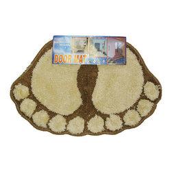 Store51 LLC - Foot Prints Brown-Beige Shaggy Accent Floor Rug Door Mat - Features: