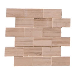 """Quarry Collection - Siberian Polished Marble - Siberian Polished Marble with 2""""x4"""" tiles are mounted on 12x12"""" sturdy mesh tile sheet with off-white grout with 6 rows and 3 colons making 18 stones on each sheet. Quantity includes one 12x12"""" tile. Shipping is per order."""