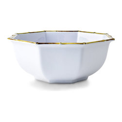 White/Natural Chinoiserie Melamine Cereal Bowl - Greet the day with a favorite warmed cereal or a delectable fruit compote presented in the simple yet sophisticated style of the White/Natural Chinoiserie Melamine Cereal Bowl. With its classic, cloud-white coloration, the bowl blends easily with tablescapes of bold or subdued color. The bamboo-inspired detail imparts an unexpected whisper of the exotic.
