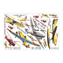 RoomMates Peel & Stick - Take Flight Wall Decals - Take flight with these colorful vintage planes, helicopters and aircraft of all kinds. Completely repositionable and reusable on any flat surface, including walls and furniture. Boys of all ages will just love these wall decals! The time to take off is now, so pick a set up today!