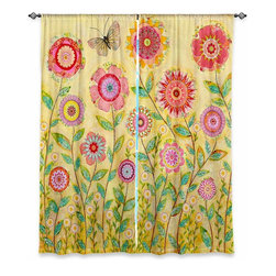 """DiaNoche Designs - Window Curtains Unlined by Sascalia - July Flowers Butterfly - DiaNoche Designs works with artists from around the world to print their stunning works to many unique home decor items.  Purchasing window curtains just got easier and better! Create a designer look to any of your living spaces with our decorative and unique """"Unlined Window Curtains."""" Perfect for the living room, dining room or bedroom, these artistic curtains are an easy and inexpensive way to add color and style when decorating your home.  The art is printed to a polyester fabric that softly filters outside light and creates a privacy barrier.  Watch the art brighten in the sunlight!  Each package includes two easy-to-hang, 3 inch diameter pole-pocket curtain panels.  The width listed is the total measurement of the two panels.  Curtain rod sold separately. Easy care, machine wash cold, tumble dry low, iron low if needed.  Printed in the USA."""