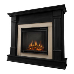Real Flame Silverton Gel Fireplace Black - G8600-B - Real Flame Silverton Gel Fireplace Black - G8600-BProduct Features Curl up by the comforting glow and warmth of a real fire anywhere in your home. Ideal for living rooms, family rooms, dens, or bedrooms, this free-standing, vent-free fireplace is crafted with a solid wood mantel making it a hassle-free way to add instant ambiance to your living space. Uses up to 3-13oz cans of Real Flame gel fuel and emits up to 9,000 BTU's of heat per hour. Assembly required. Real Flame Gel Fuel sold separately. Ships UPS ground only to the Continental US. Black Finish.Product Specifications:  * Dimensions: 48 L x 13 W x 41 H (inches) * Finish: Black Finish * Weight: 105 lbs. * Ventless * Portable - No Installation Required * Emits up to 9,000 BTU's of Heat Per Hour * Complete Mantle with log and screen kitAbout Real Flame For nearly 30 years Real Flame has been the leader in the production and sale of gel-fueled fireplaces and accessories. All of Real Flame products are manufactured to the highest standards and, of course, safety is the top priority in all of the designs.Real Flame Gel Fuel is an exclusive premium alcohol based blend that requires no ventilation when burned. No chimney, no gas hookups and no electricity needed. Makes an ideal addition to any room in all types of homes adding the warmth and ambience of a real fire without the hassle and expense of costly installations.Tested and approved for indoor and outdoor use, Real Flame Gel Fuel meets all clean air requirements established by both OHSA and the EPA.Join the thousands of satisfied customers across the country and begin your own memories from evenings around the fire today.