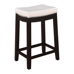 "Linon Home Decor - Linon Home Decor Accent Chair X-U-DK-10-UPTHW51855 - The Claridge Patches White Counter Stool will add stylish seating to any counter or high top table. The sturdy wood frame has  a dark brown finish accented by a white vinyl upholstered seat. Nailhead trim and accent stitching adds a patchwork design to the top for an eyecatching detail. 24"" Seat Height. 275 pound weight limit."