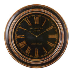 Uttermost - Buckley Black Wall Clock - Make sure both time and design are on your side with this grand wall clock. Its dramatic black-and-gold face is gorgeously distressed for an antiqued look that will make an impact. Pair with filament lighting, dark leathers and an antique rug to achieve the much-loved vintage industrial look.