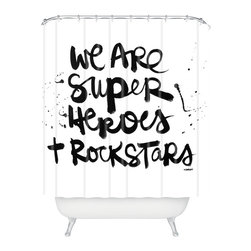 DENY Designs - Kal Barteski Superheroes Shower Curtain - Who says bathrooms can't be fun? To get the most bang for your buck, start with an artistic, inventive shower curtain. We've got endless options that will really make your bathroom pop. Heck, your guests may start spending a little extra time in there because of it!