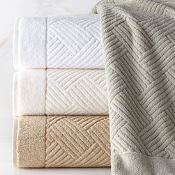 """SFERRA - SFERRA Jacquard Hand Towel - Naturally soft and perfectly thirsty, these woven jacquard towels feature a classic basketweave design to bring simple elegance to the bath. Made of 100% Turkish cotton. Select color when ordering. Machine wash. Bath towel, approximately 30"""" x 60""""....."""