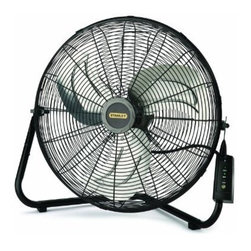 "Lasko - Stanley Remote Control 20"" High Velocity Floor fan w/Quick Mount 3 Speed - The Lasko 655650 Stanley Max Performance 20 In. High Velocity Fan, with multi-function remote control, converts easily from floor to wall use with the QuickMount system. This industrial grade fan with tubular steel construction features metal blades to deliver maximum air movement at three powerful speeds. Additional features include carry handle, front-mounted controls, and rubber pads on the frame to protect contact surfaces.Stanley max performance 20-inch high velocity fan converts easily from floor to wall use with quick-mount option